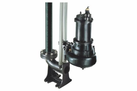 STO type Submersible Raw Sewage Pump with auto-guide rail kit.